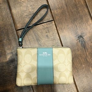 COACH teal and cream wristlet wallet